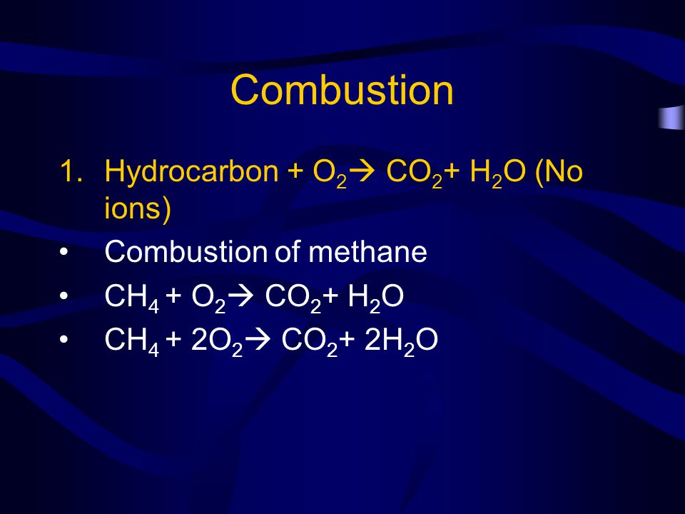 Combustion Hydrocarbon + O2 CO2+ H2O (No ions) Combustion of methane