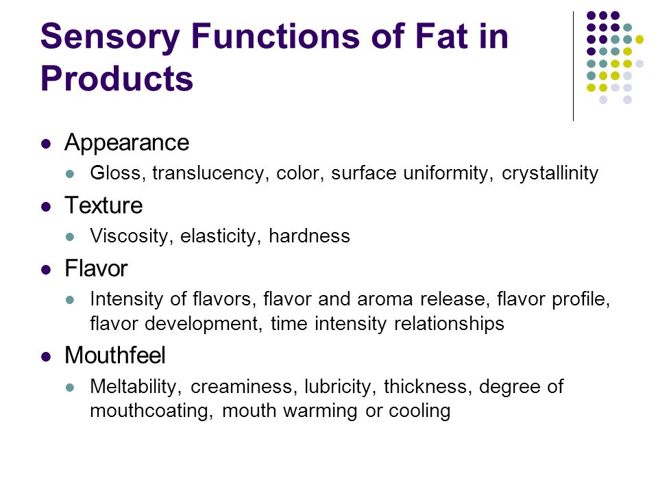 Sensory Functions of Fat in Products