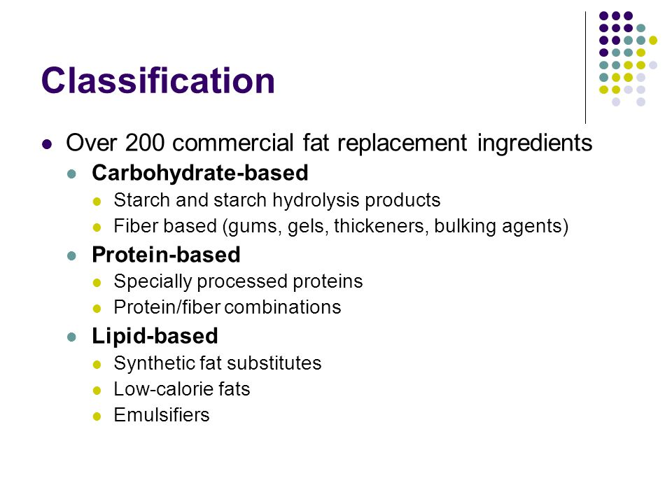 Classification Over 200 commercial fat replacement ingredients