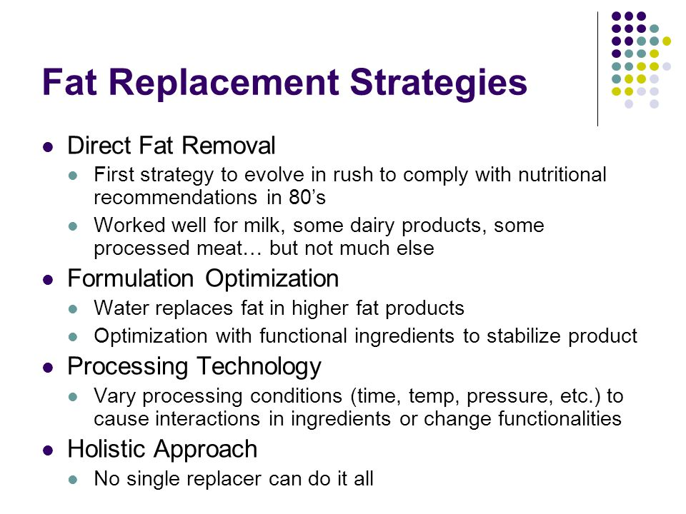 Fat Replacement Strategies