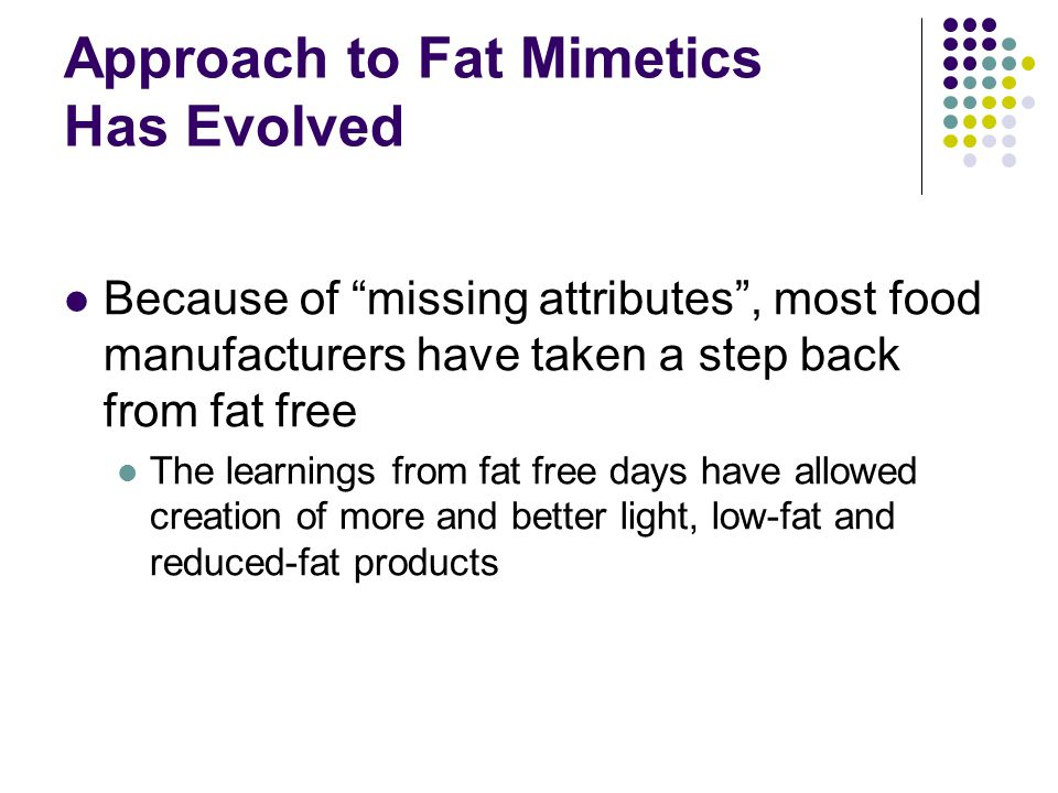 Approach to Fat Mimetics Has Evolved