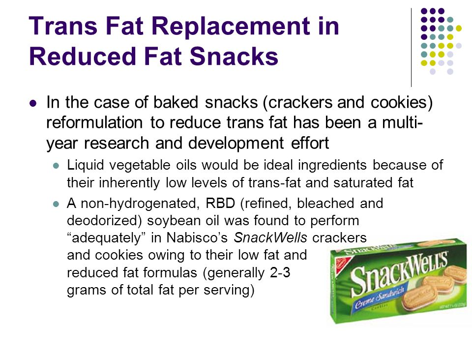 Trans Fat Replacement in Reduced Fat Snacks
