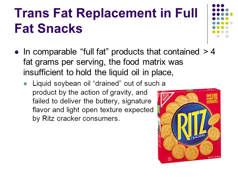 Trans Fat Replacement in Full Fat Snacks