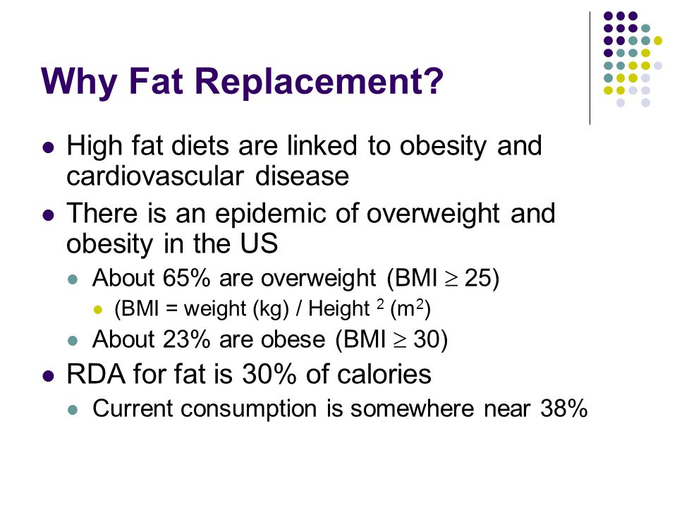 Why Fat Replacement High fat diets are linked to obesity and cardiovascular disease. There is an epidemic of overweight and obesity in the US.