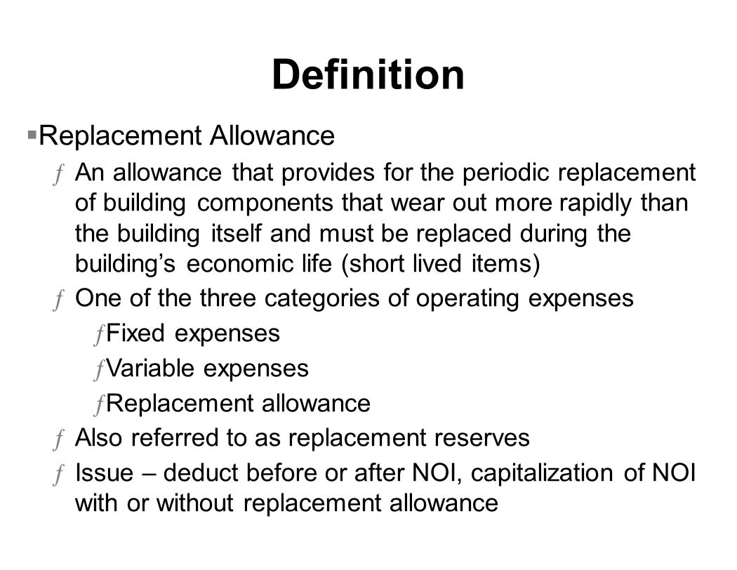 Definition Replacement Allowance