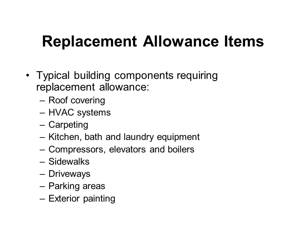 Replacement Allowance Items