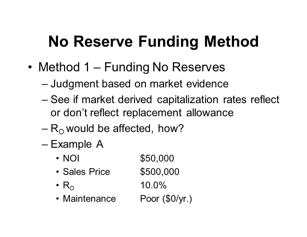 No Reserve Funding Method