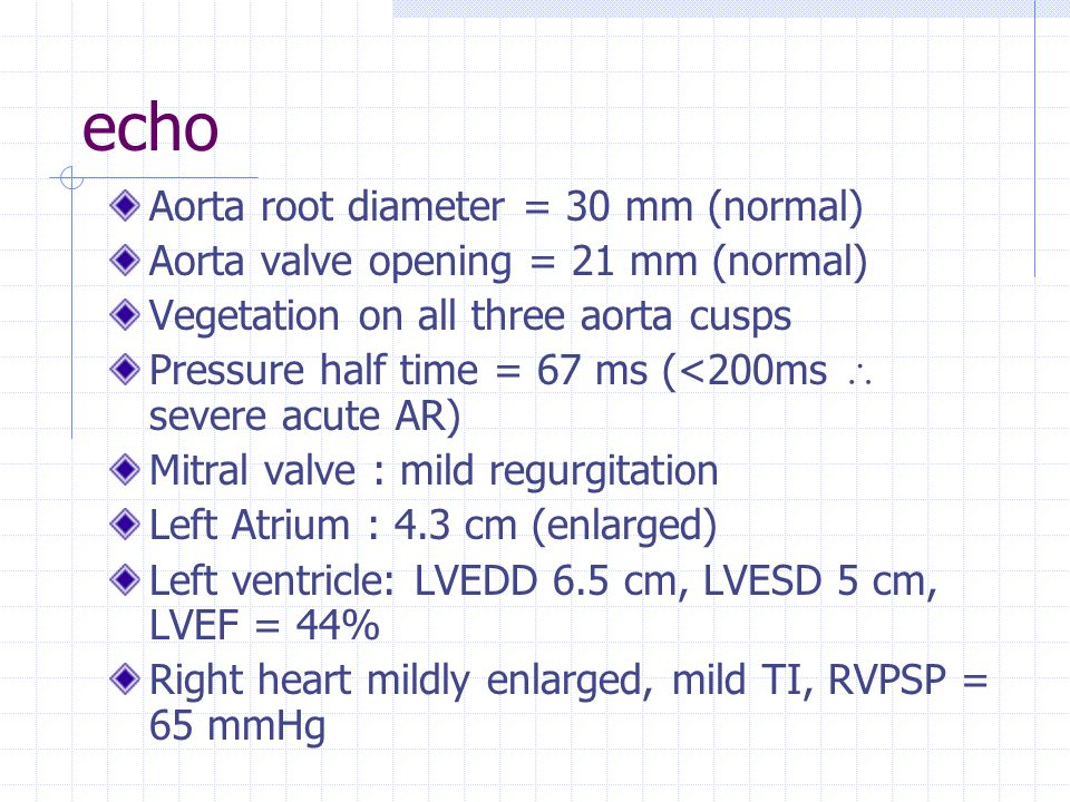 echo Aorta root diameter = 30 mm (normal)