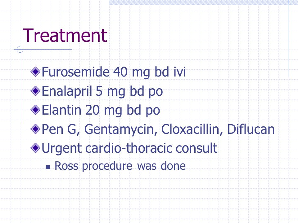 Treatment Furosemide 40 mg bd ivi Enalapril 5 mg bd po