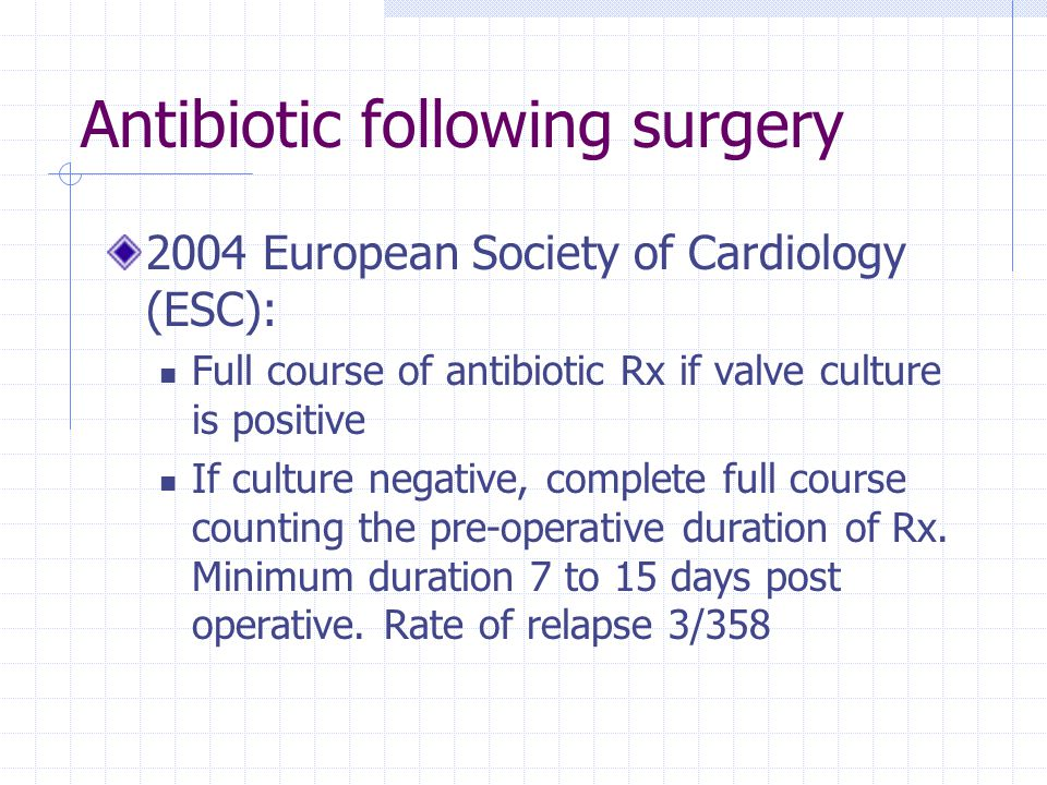 Antibiotic following surgery