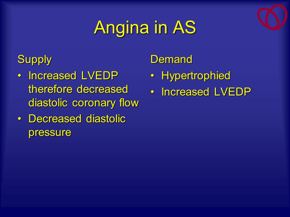 Angina in AS Supply. Increased LVEDP therefore decreased diastolic coronary flow. Decreased diastolic pressure.