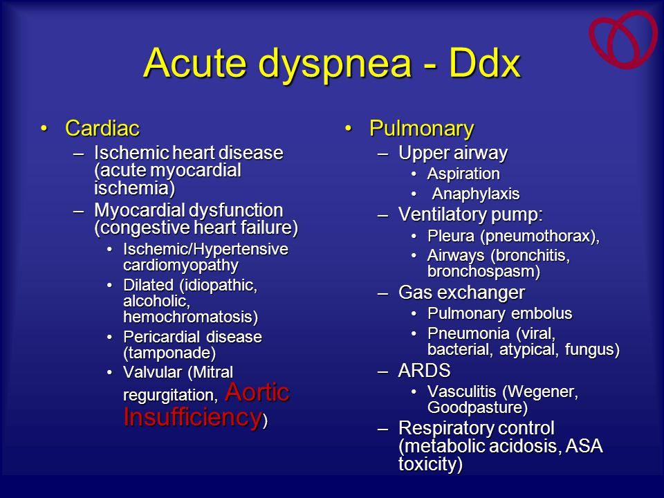 Acute dyspnea - Ddx Cardiac Pulmonary