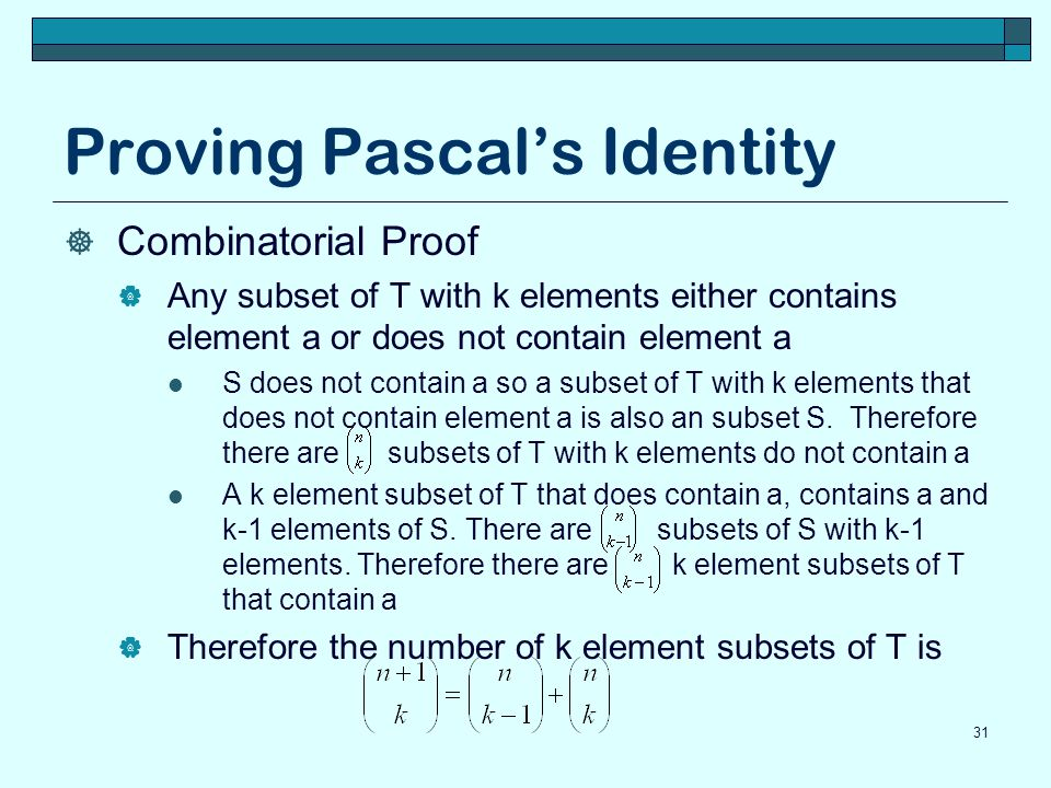 Proving Pascal's Identity