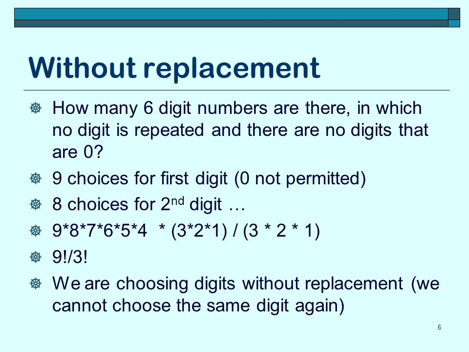 Without replacement How many 6 digit numbers are there, in which no digit is repeated and there are no digits that are 0