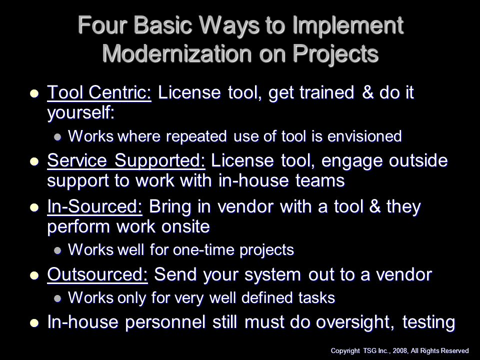 Four Basic Ways to Implement Modernization on Projects
