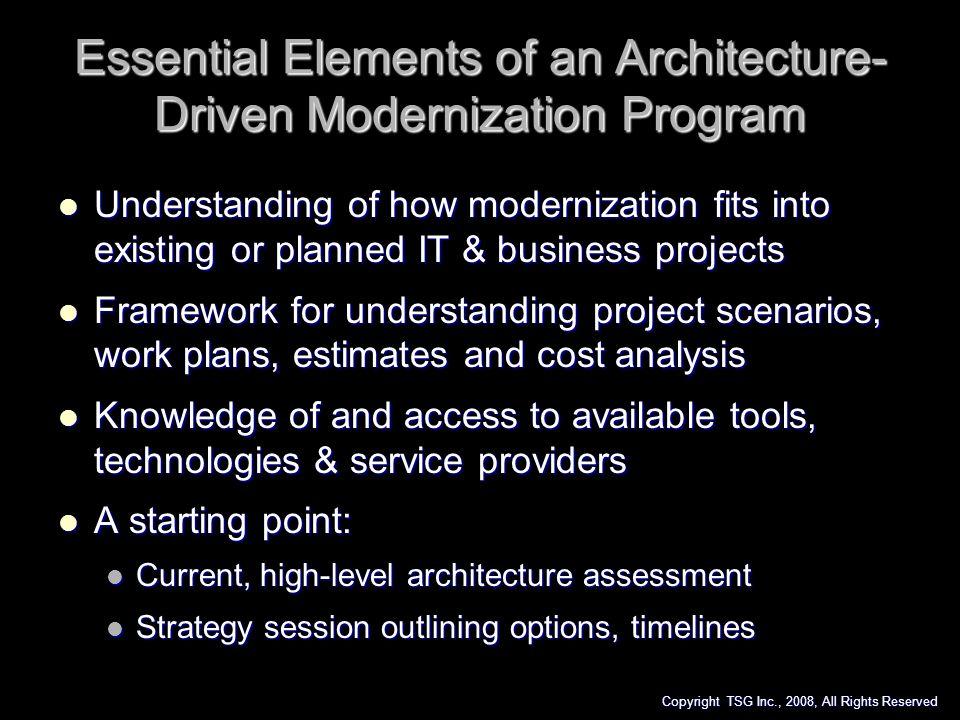 Essential Elements of an Architecture-Driven Modernization Program