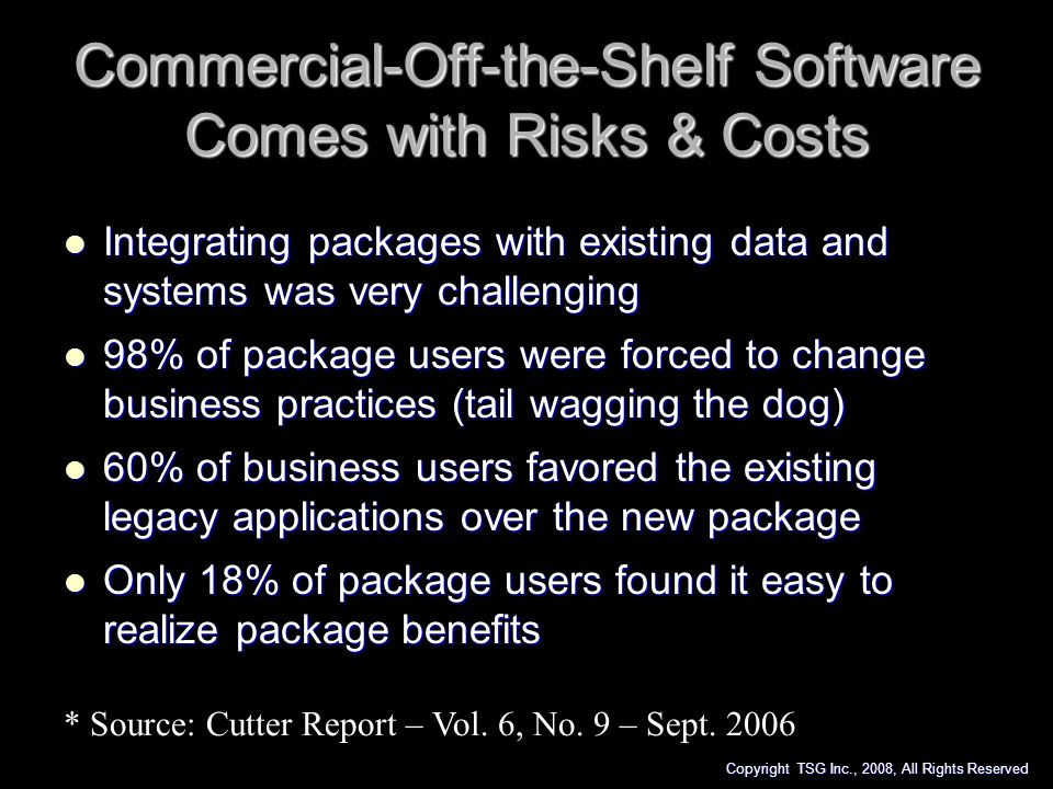 Commercial-Off-the-Shelf Software Comes with Risks & Costs