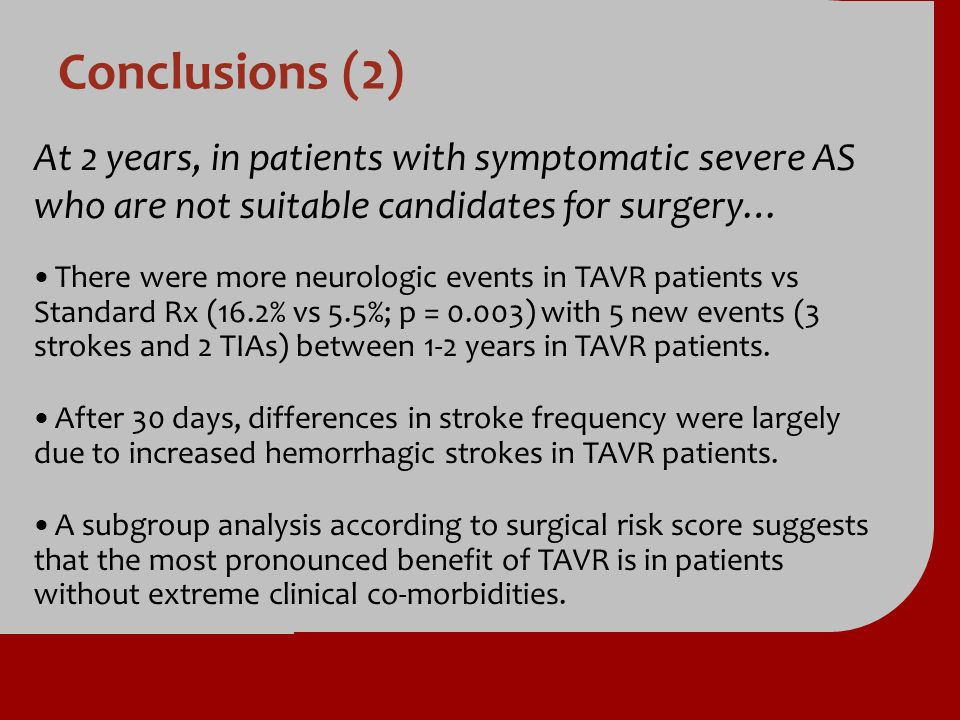 Conclusions (2) At 2 years, in patients with symptomatic severe AS who are not suitable candidates for surgery…