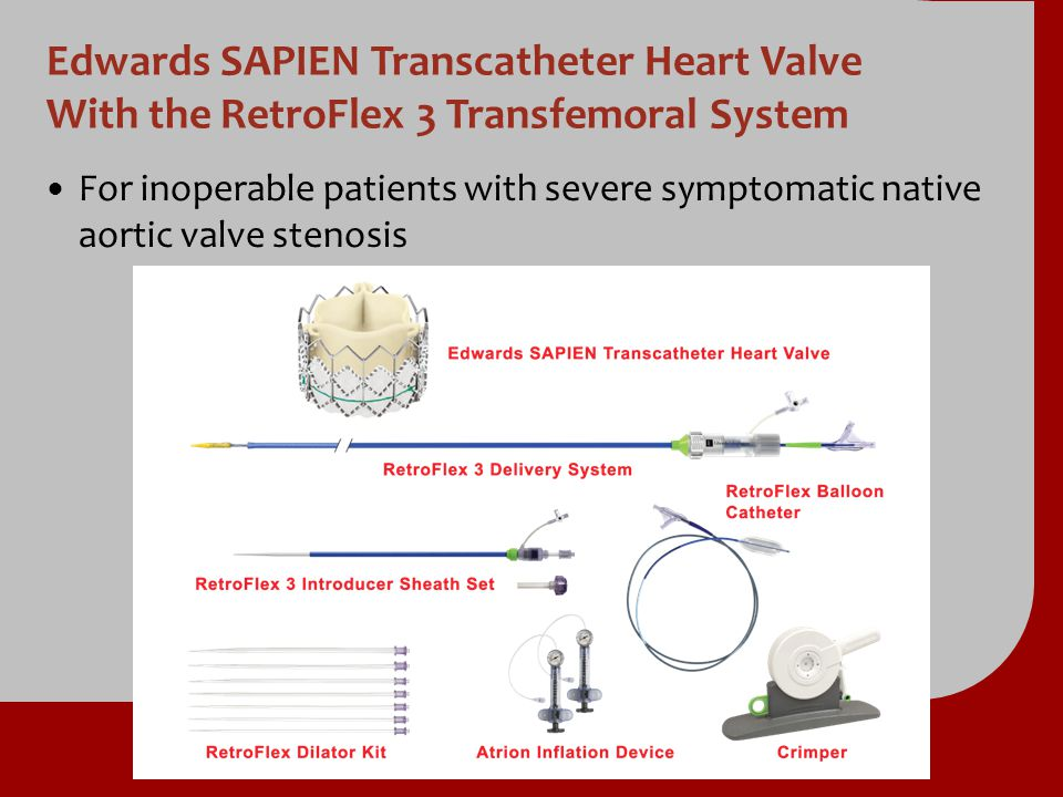 Edwards SAPIEN Transcatheter Heart Valve With the RetroFlex 3 Transfemoral System