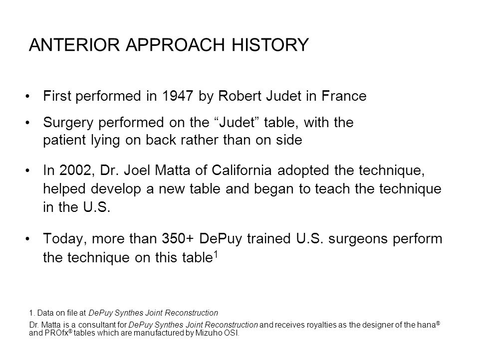 Anterior Approach History