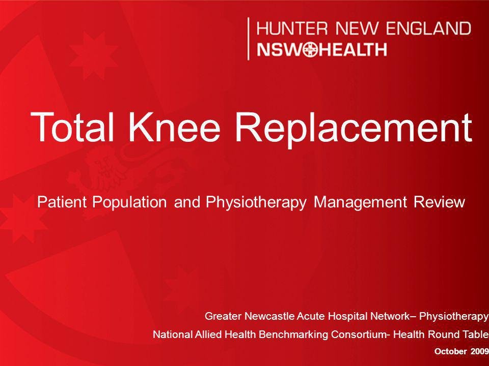 BACKGROUND 376 TKR patients were seen by RNC Physiotherapy as an outpatient during 2006/2007.