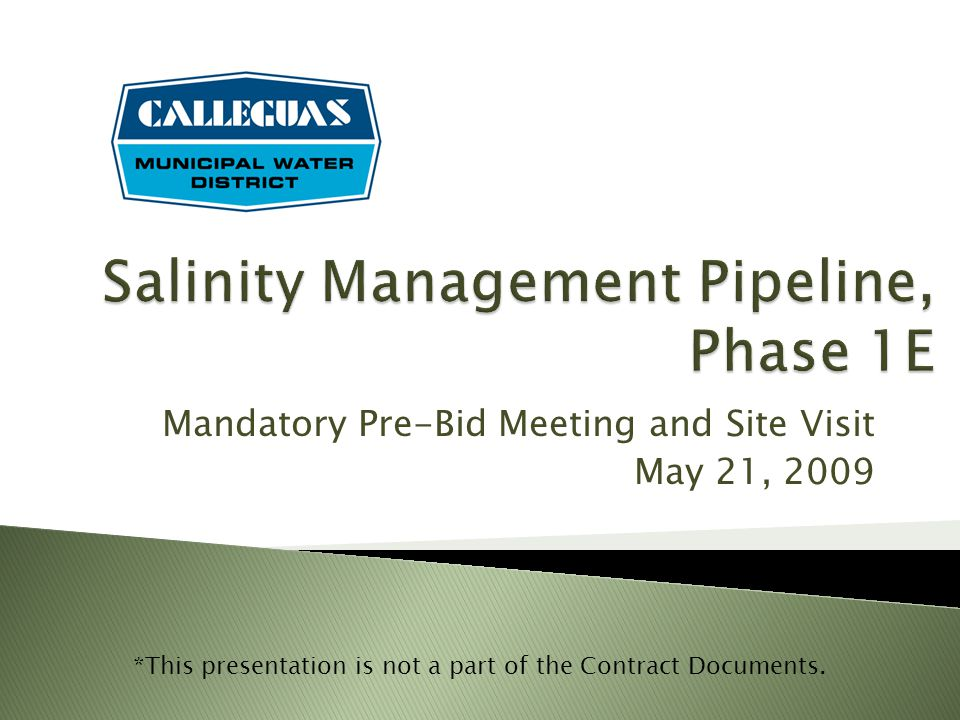 Salinity Management Pipeline, Phase 1E