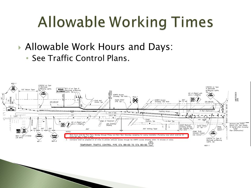 Allowable Working Times