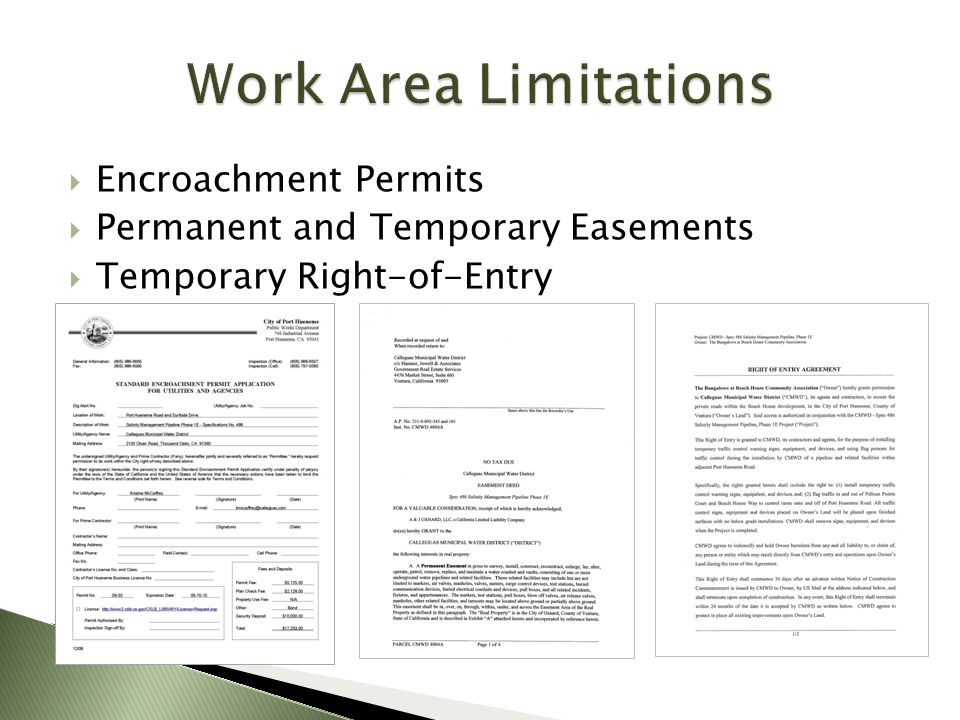 Work Area Limitations Encroachment Permits