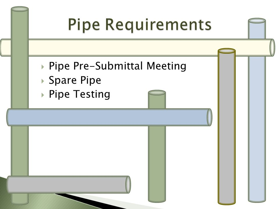 Pipe Requirements Pipe Pre-Submittal Meeting Spare Pipe Pipe Testing