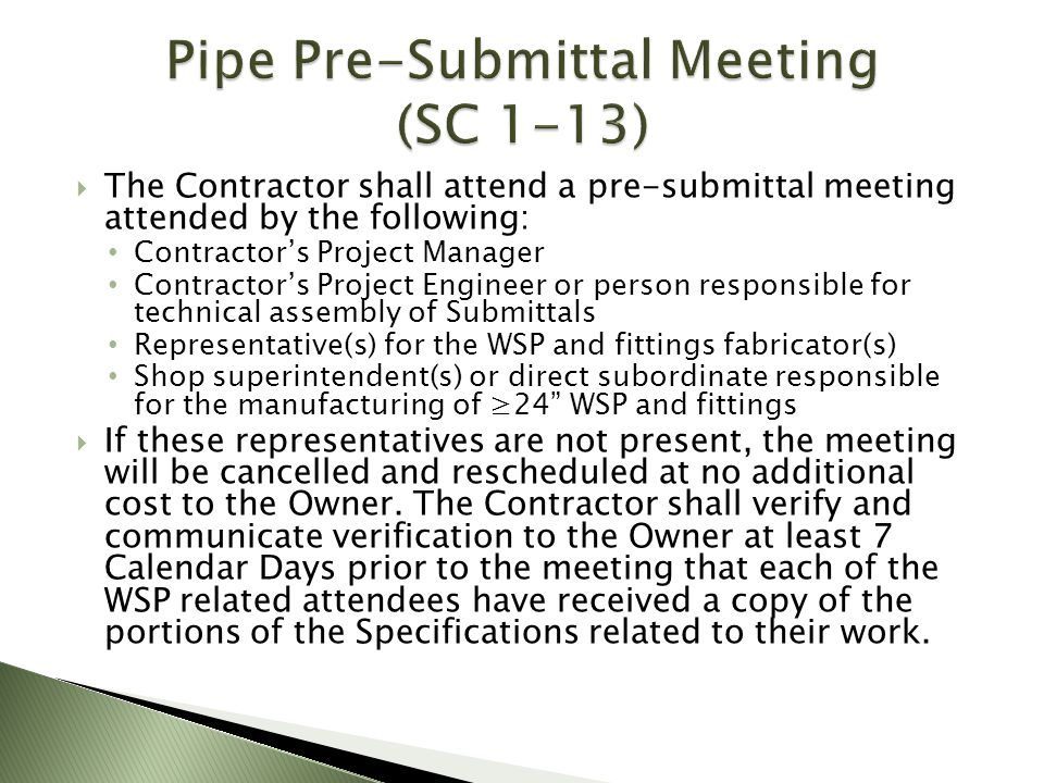 Pipe Pre-Submittal Meeting (SC 1-13)