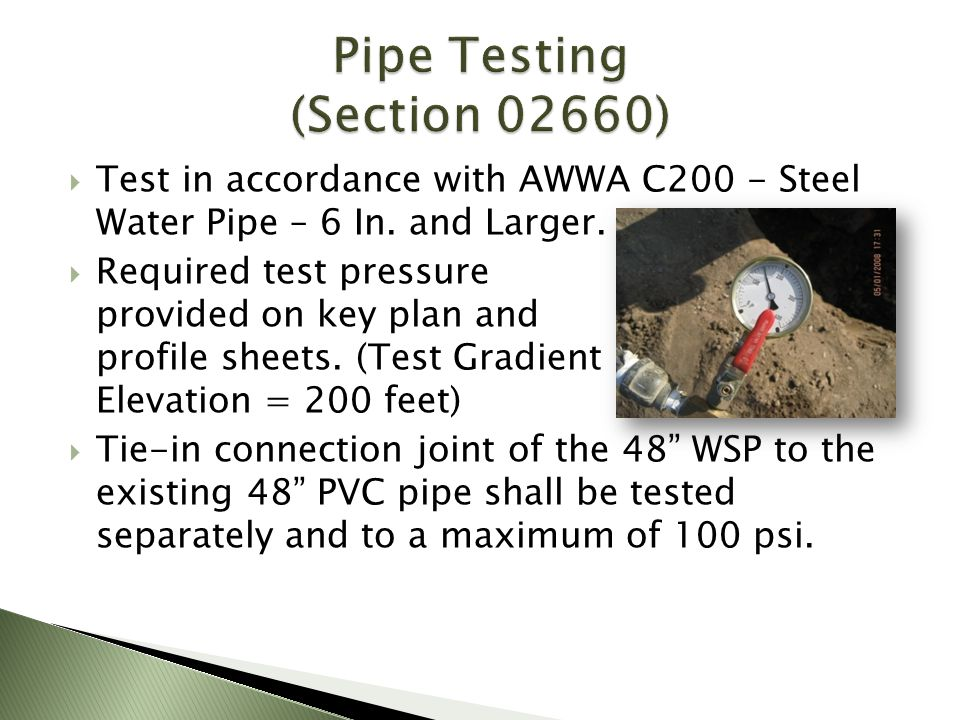 Pipe Testing (Section 02660)