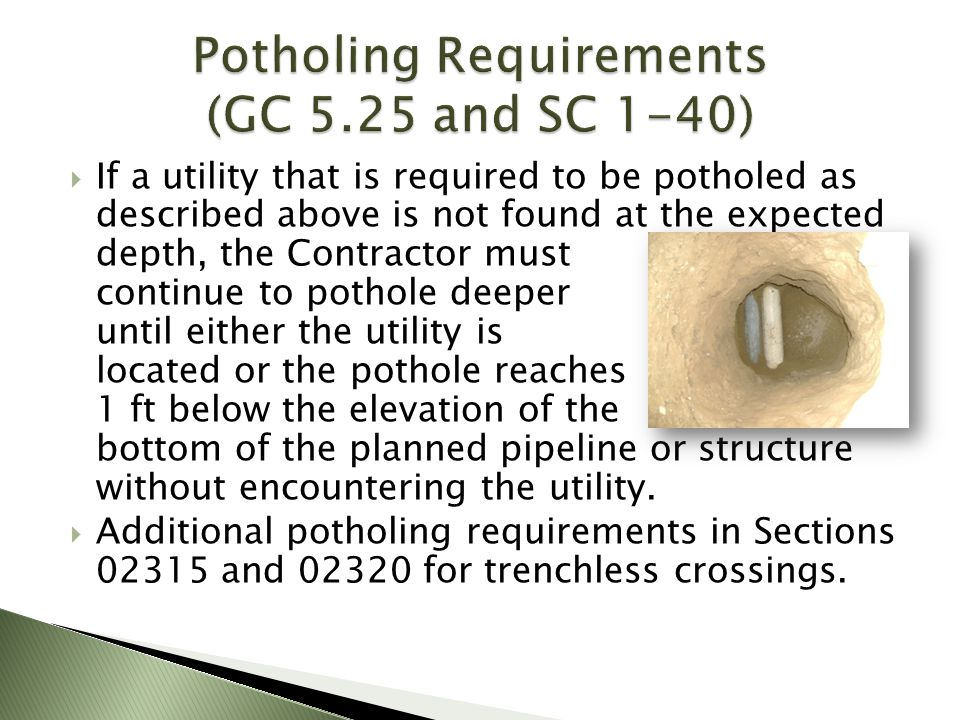 Potholing Requirements (GC 5.25 and SC 1-40)