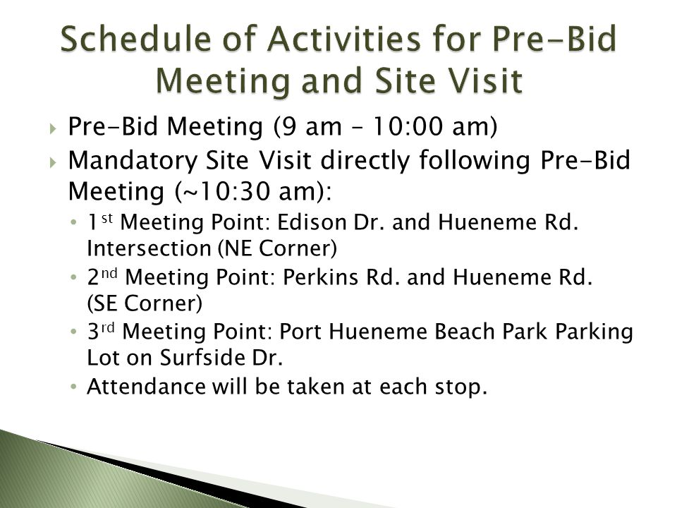 Schedule of Activities for Pre-Bid Meeting and Site Visit