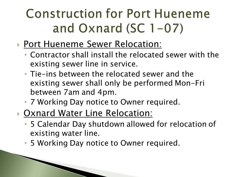 Construction for Port Hueneme and Oxnard (SC 1-07)