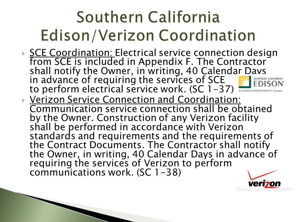 Southern California Edison/Verizon Coordination
