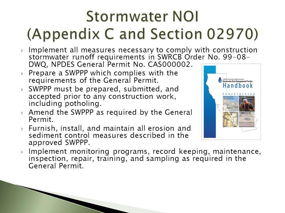 Stormwater NOI (Appendix C and Section 02970)