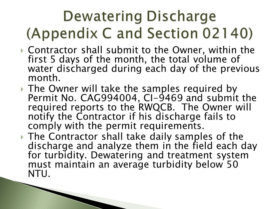 Dewatering Discharge (Appendix C and Section 02140)