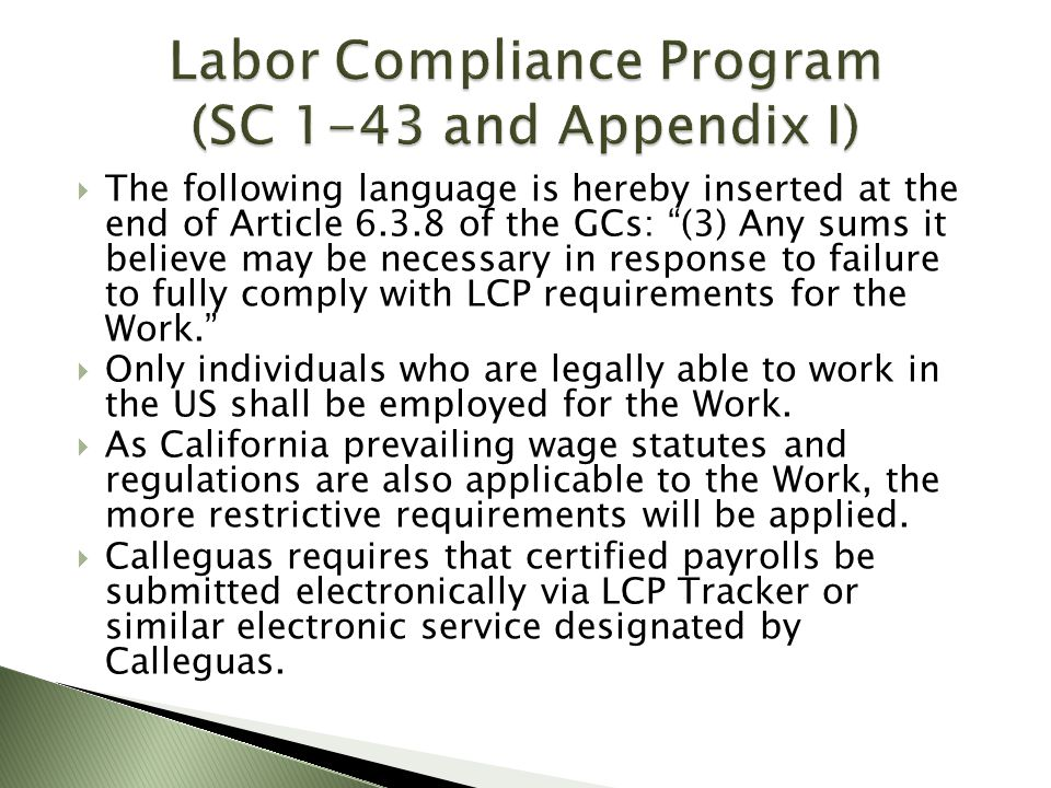 Labor Compliance Program (SC 1-43 and Appendix I)