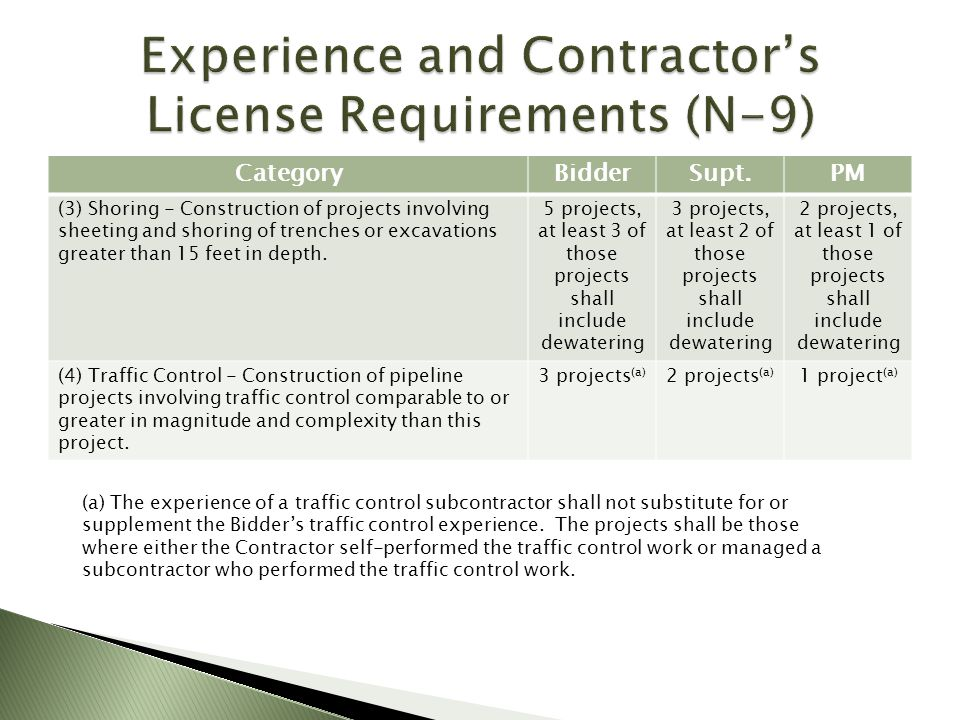Experience and Contractor's License Requirements (N-9)