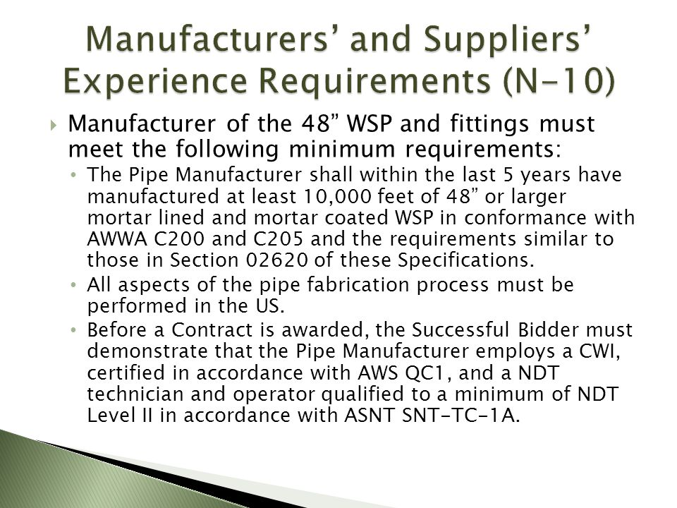 Manufacturers' and Suppliers' Experience Requirements (N-10)