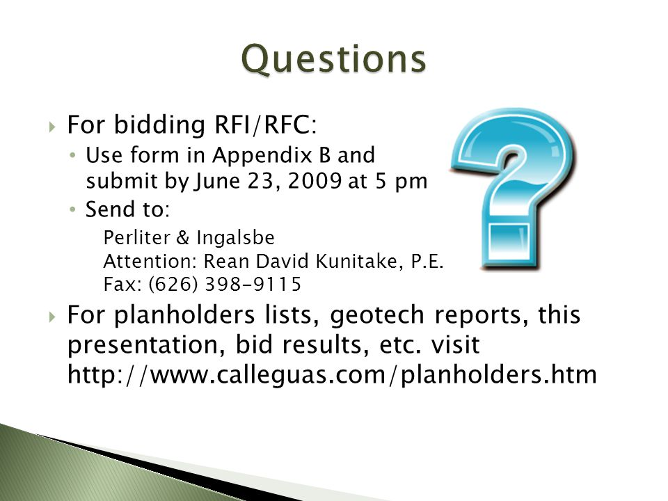Questions For bidding RFI/RFC: