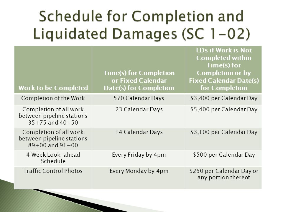 Schedule for Completion and Liquidated Damages (SC 1-02)