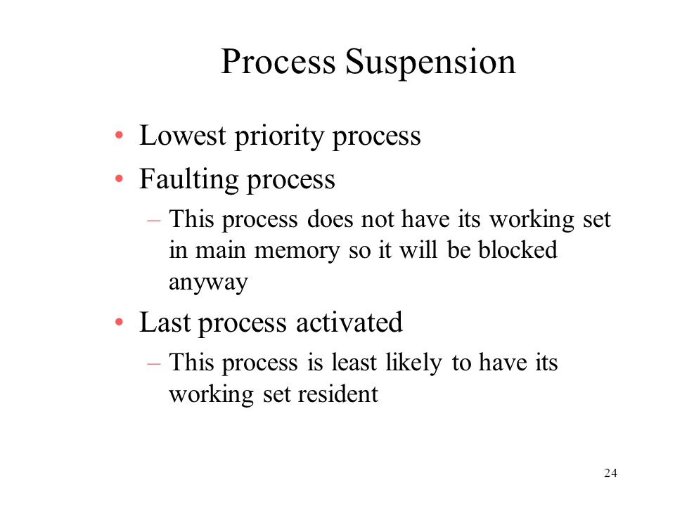 Process Suspension Lowest priority process Faulting process