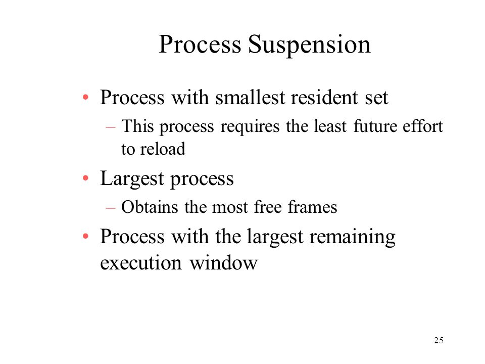Process Suspension Process with smallest resident set Largest process