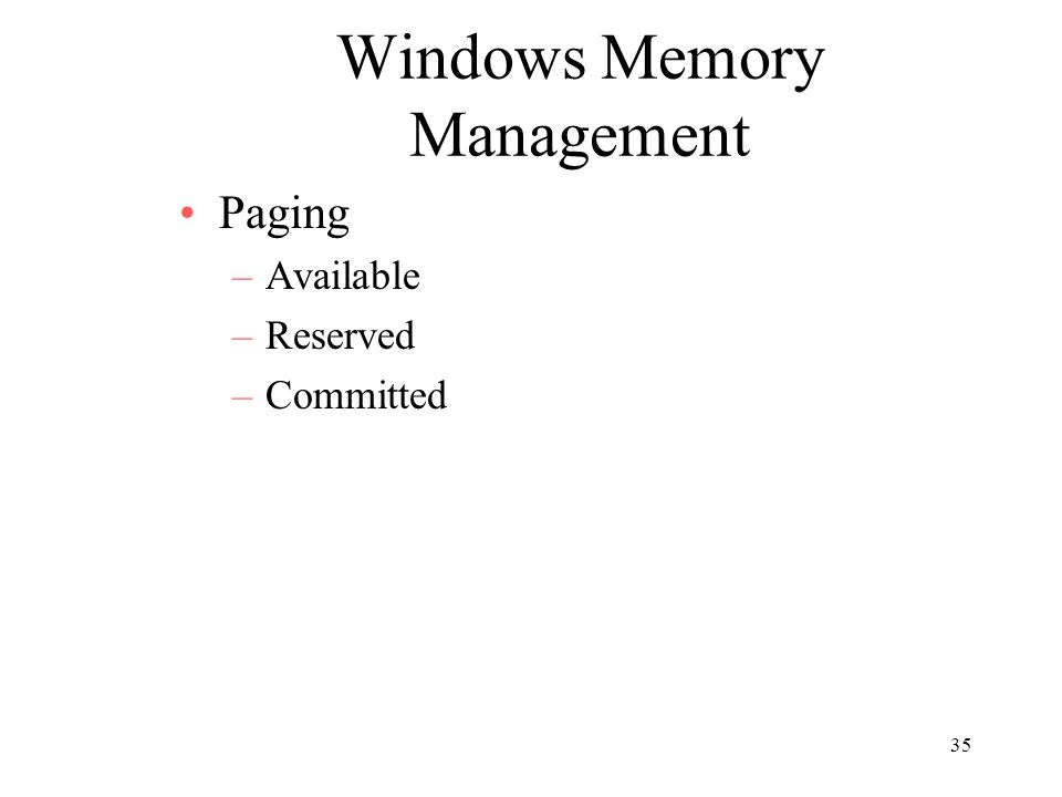 Windows Memory Management