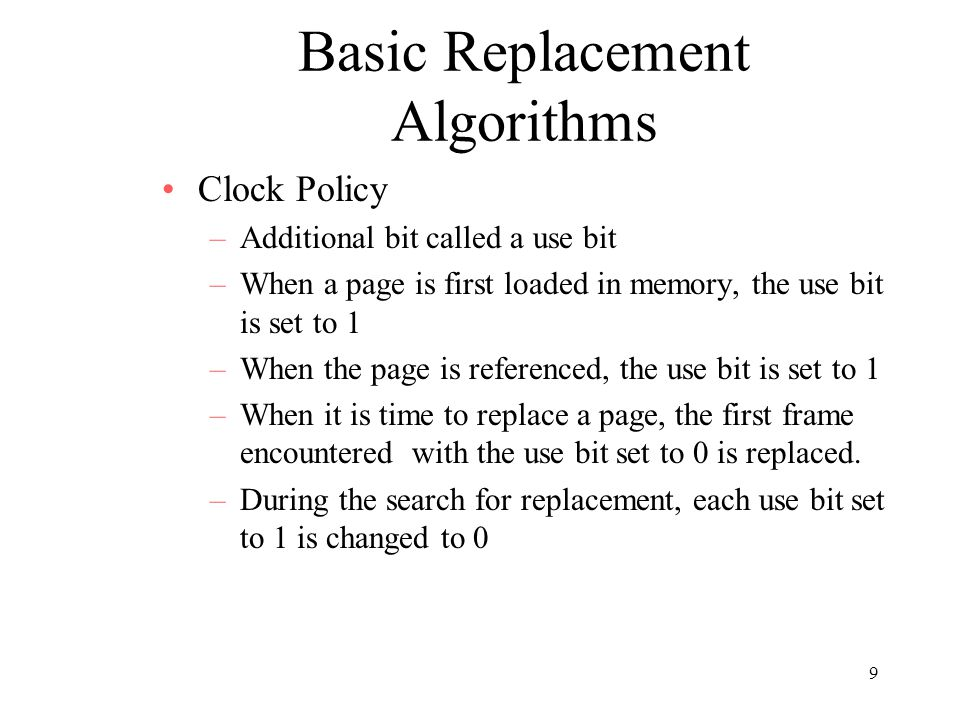 Basic Replacement Algorithms