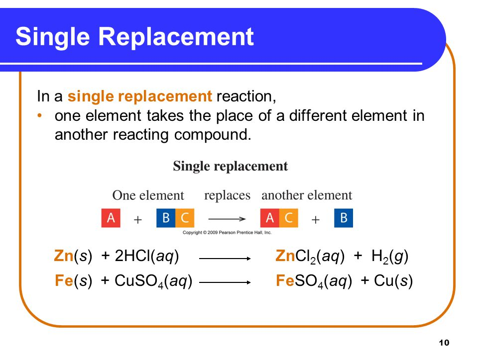 Single Replacement In a single replacement reaction,