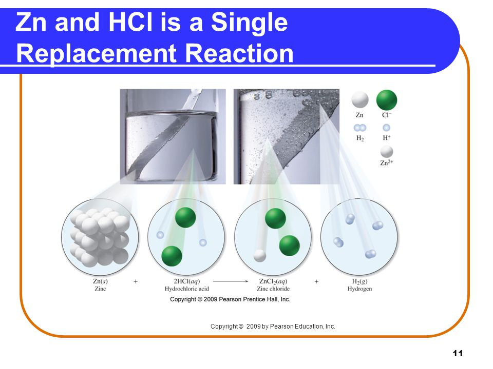 Zn and HCl is a Single Replacement Reaction