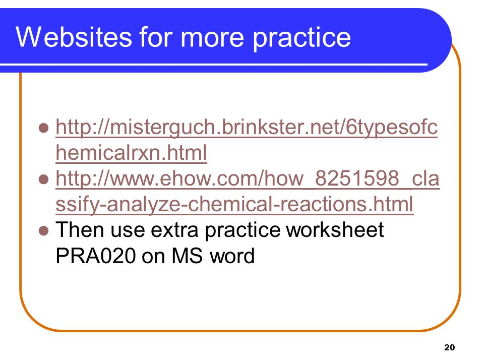 Websites for more practice