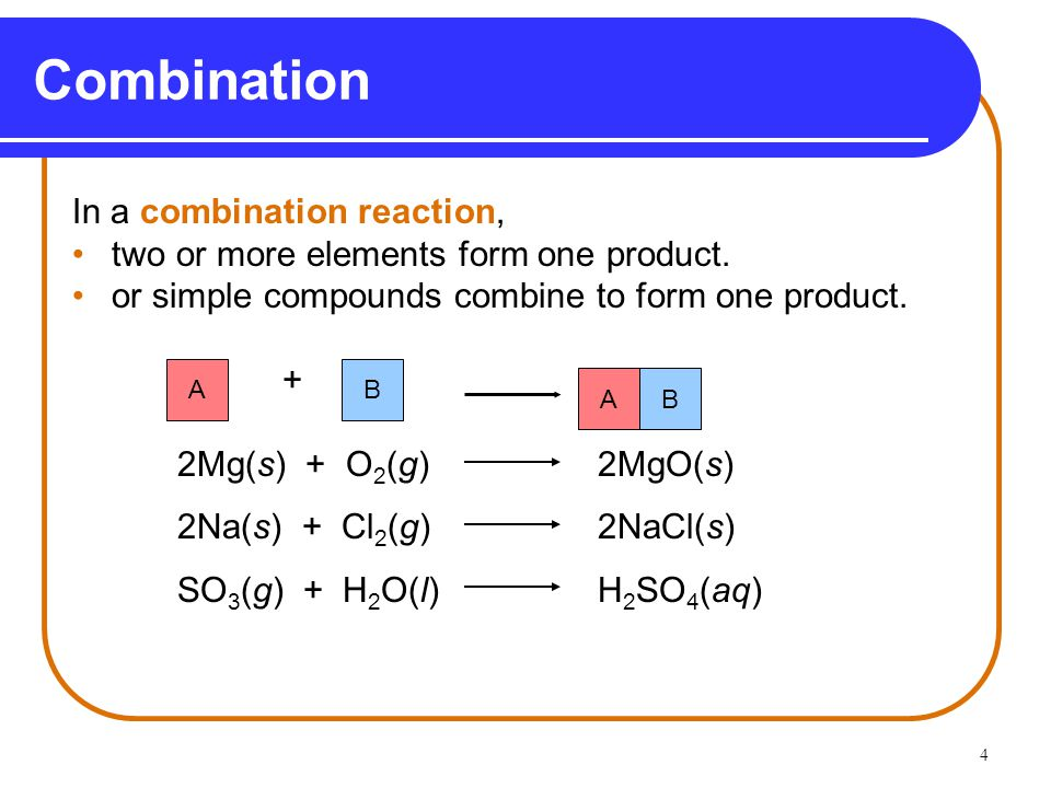 Combination In a combination reaction,